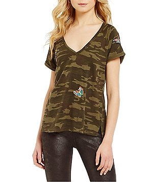 Sanctuary V-Neck Short Sleeve Embroidered Camo Tee