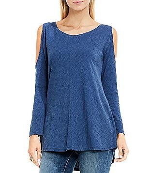 Vince Camuto TWO Round Neck Long Sleeve Cold-Shoulder Cotton Slub Top