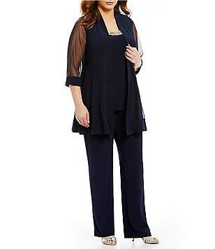 R&M Richards Plus Mock 3-Piece Beaded-Neck Pant Set