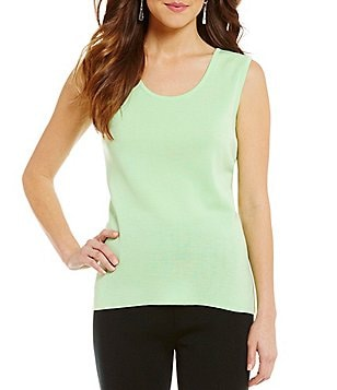 Ming Wang Scoop Neck Side Slit Tank