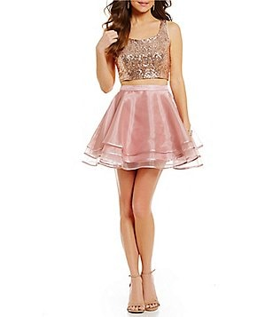 B. Darlin Sequin Top Two-Piece Tiered High-Waist Skirt Party Dress