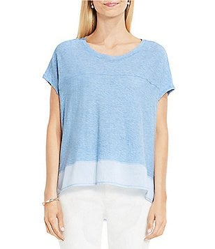 Vince Camuto Two Crew Neck Short Sleeve Mix Media Hi-Low Hem Tee