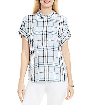 Two by Vince Camuto Short Sleeve Subtle Plaid Boxy Collared Shirt