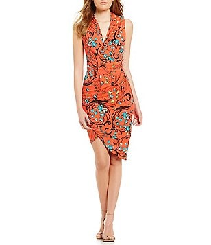 Nicole Miller Artelier V-Neck Sleeveless Floral Faux-Wrap Jersey Dress