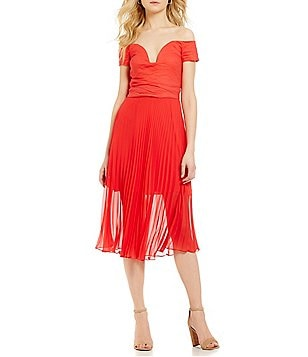 Nicole Miller Artelier Cotton Metal Off-the-Shoulder Pleated Dress
