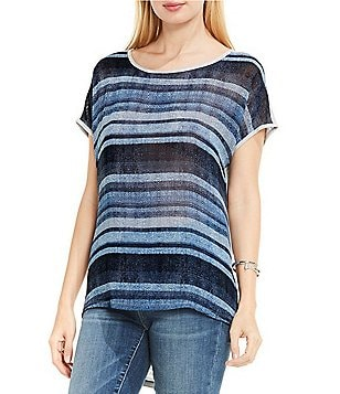 Two by Vince Camuto Short Sleeve Textured Skies Striped Mix Media Tee