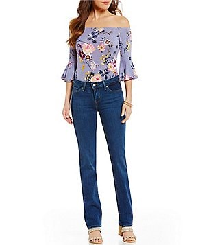 Living Doll Floral Printed Off-The-Shoulder Bell Sleeve Bodysuit