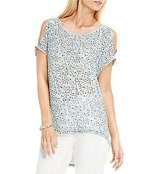 TWO by Vince Camuto Crew Neck Cold-Shoulder Short Sleeve Floral Sketches Top