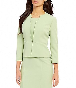 Kasper Petite Round Neck 3/4 Sleeve Solid Stretch Crepe Jacket