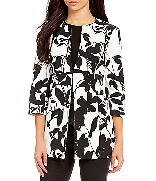 Kasper Petite Printed Collarless Open Topper