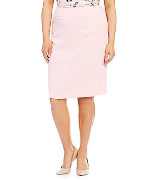 Kasper Plus Stretch Crepe Pencil Skirt