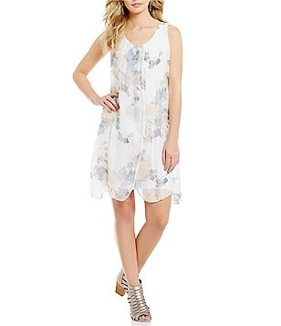 M Made in Italy Scoop Neck Sleeveless Floral Print Chiffon Dress