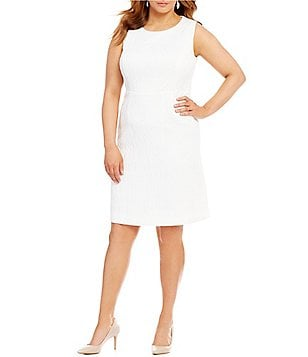 Kasper Plus Jacquard Sleeveless Sheath Dress