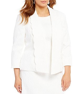 Kasper Plus Scalloped Shawl Collar Jacquard Jacket