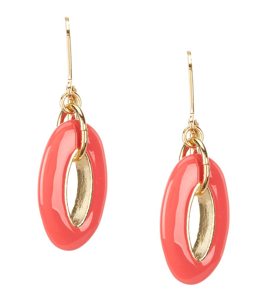 Anne Klein Oval Link Drop Earrings