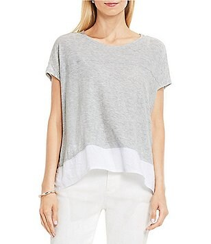 TWO by Vince Camuto Extend Sleeve Mix Media Shirttail Tee