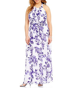 Leslie Fay Plus Floral-Print Pleated Maxi Dress