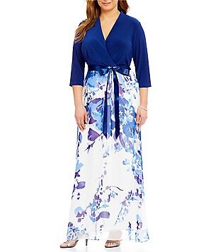Leslie Fay Plus 3/4 Sleeve Floral-Print Maxi Dress