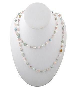 Calvary Sterling Silver & Pastel Agate Long Rosary Bead Necklace