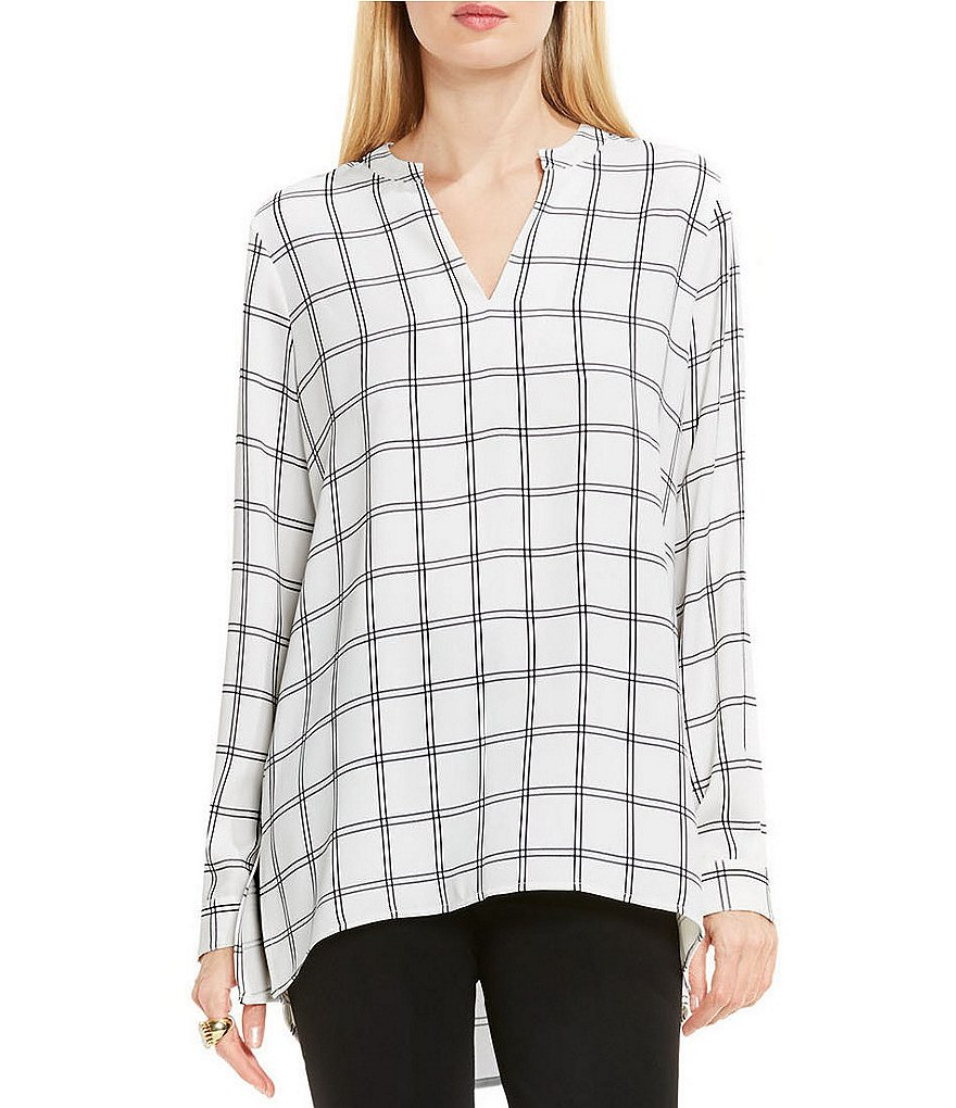 Vince Camuto Long Sleeve Windowpane V-Neck Tunic