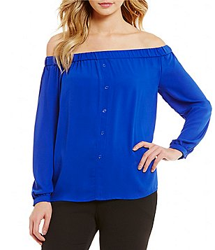 Vince Camuto Long Sleeve Off-the-Shoulder Blouse
