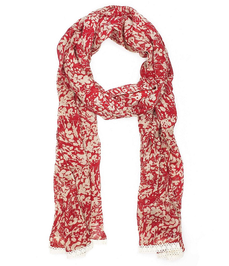 Patricia Nash Wildflower Collection Crochet-Trimmed Floral Scarf