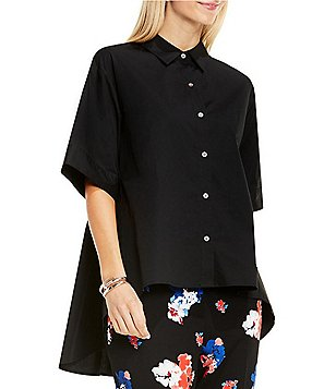Vince Camuto Point Collar Short Sleeve Oversized Button Down Shirt