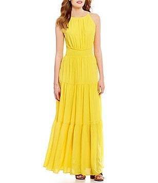 GB Sleeveless Tiered Keyhole-Back Maxi Dress
