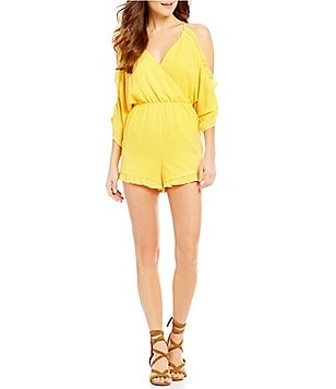 GB V-Neck Cold Shoulder Ruffle Romper