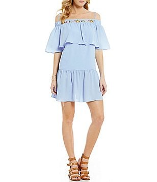 GB Ruffle Embroidered Shift Dress