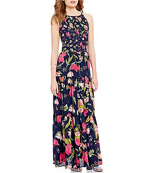 GB Floral Print Tiered Keyhole-Back Maxi Dress