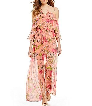 GB Floral Print Off-The-Shoulder Maxi-Romper