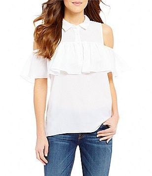 Guess Chelsea Cold Shoulder Ruffle Poplin Top