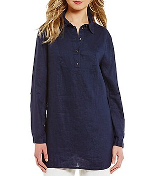 Preston & York Lizzie Button Down Collar Roll-Tab Sleeve Blouse