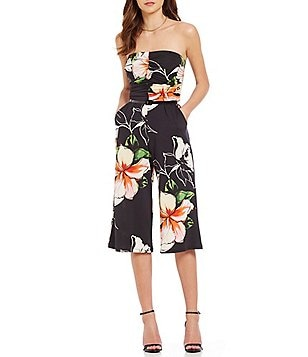 Stilletto´s Floral Printed Strapless Culotte Jumpsuit