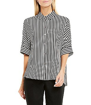 Vince Camuto Point Collar Dolman Sleeve Button Down Demure Stripe Print Blouse