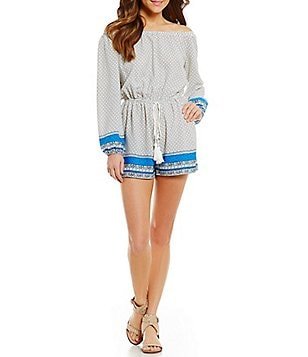 Soprano Border-Printed Off-The-Shoulder Long-Sleeve Romper