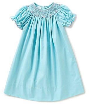 Edgehill Collection Little Girls 2T-4T Smocked-Floral Bishop Dress