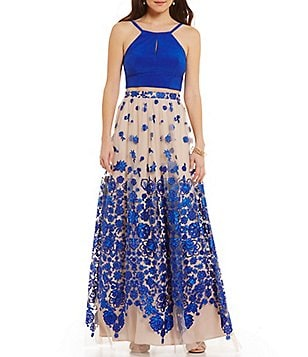 GB Social High Halter Neck Keyhole Top Floral-Embroidered Skirt Two-Piece Long Dress