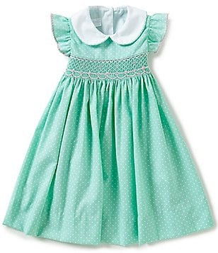 Edgehill Collection Little Girls 2T-4T Smocked-Floral Dotted Bishop Dress