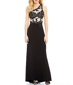 GB Social One Shoulder Appliqué Open-Back Gown