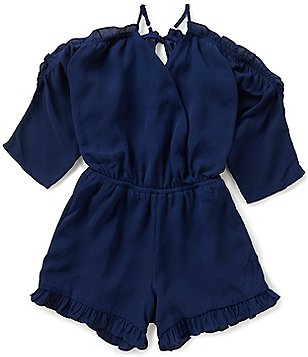 GB Girls Big Girls 7-16 Ruffled Cold-Shoulder Romper