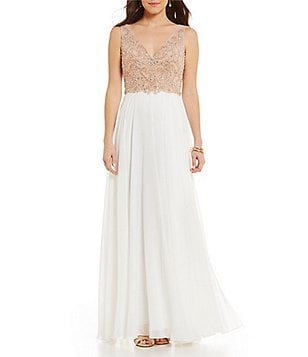 GB Social Beaded Bodice Gown