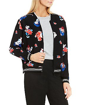 Vince Camuto Travelling Bloom Zip Front Bomber Jacket