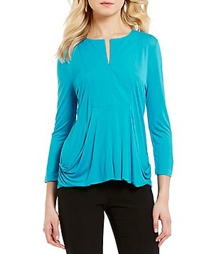 Alex Marie Knit Elaine Y-Neck 3/4 Sleeve Top
