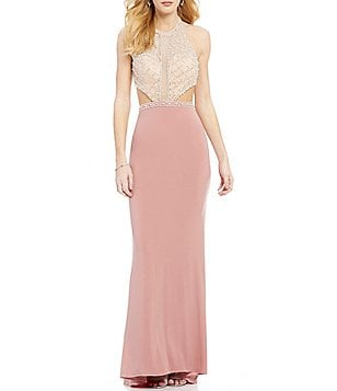 GB Social High Halter Neck Beaded Cut-Out Gown