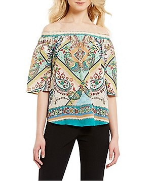 Alex Marie Analiza Off-the-Shoulder Short Sleeve Printed Blouse