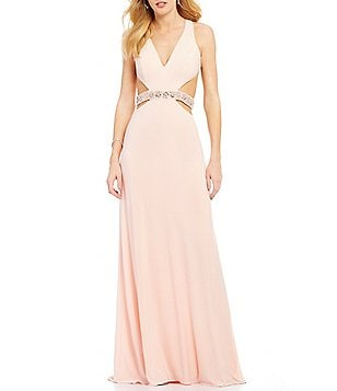 GB Social Beaded Waistline Cut-Out V-Neck Open-Back Gown