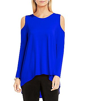 Vince Camuto Crew Neck Cold-Shoulder Long Sleeve Mix Media Top