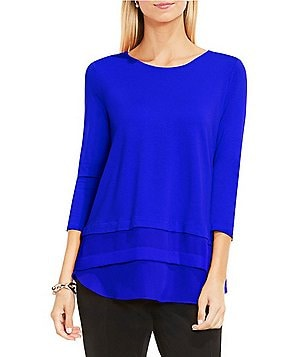 Vince Camuto 3/4 Sleeve Mix Media Layered Top